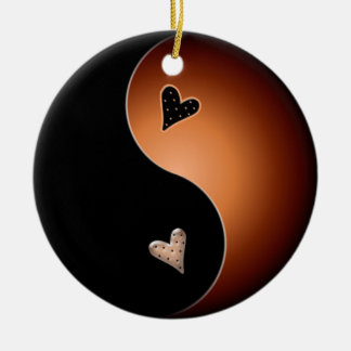 yin yang heart - coffee ceramic ornament