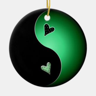 yin yang heart - green ceramic ornament