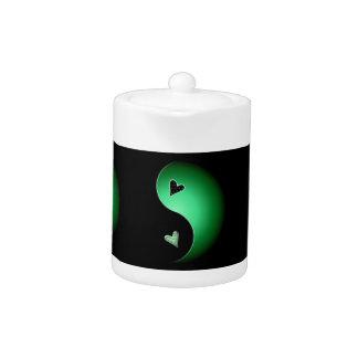 yin yang heart - green teapot