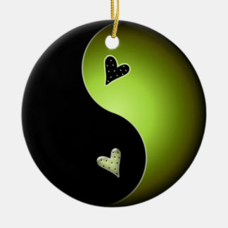 yin yang heart - lime ceramic ornament