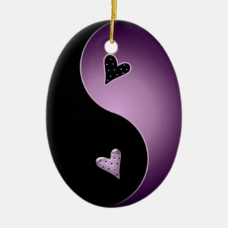 yin yang heart - purple ceramic ornament