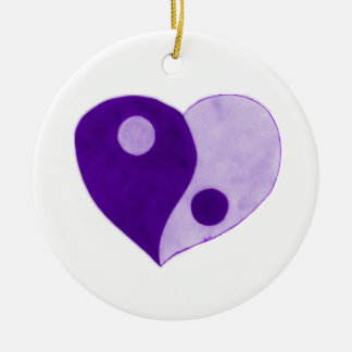 Yin Yang Heart (Purple/Lilac) Ceramic Ornament