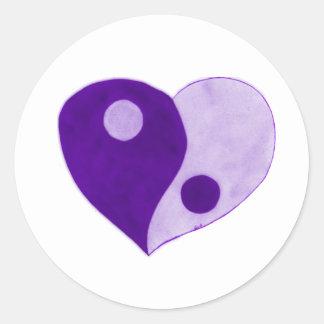 Yin Yang Heart (Purple/Lilac) Classic Round Sticker