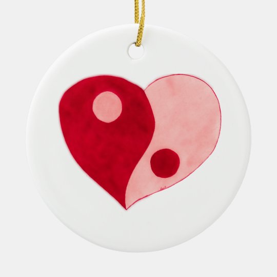 Yin Yang Heart (Red/Pink) Ceramic Ornament