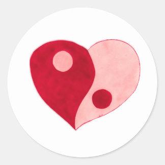 Yin Yang Heart (Red/Pink) Classic Round Sticker