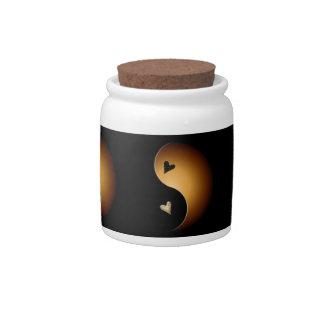 yin yang heart - toffee candy jars