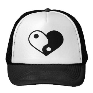 Yin yang heart trucker hat
