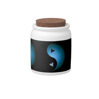 yin yang heart - turquoise candy jar