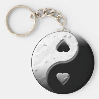 Yin Yang Hearts Basic Round Button Keychain