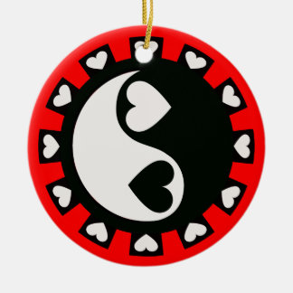 YIN YANG HEARTS BLACK & WHITE Ornament