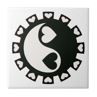 YIN YANG HEARTS BLACK & WHITE Tile