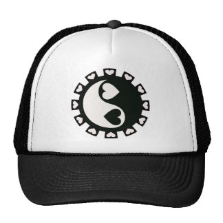 YIN YANG HEARTS BLACK & WHITE TRUCKER HAT