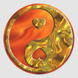 Yin & Yang / Hearts gold | fire red Round Sticker