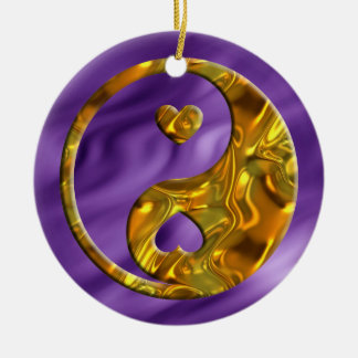 Yin & Yang / Hearts gold | lila waves Ceramic Ornament