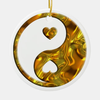Yin & Yang / Hearts gold silver Ceramic Ornament