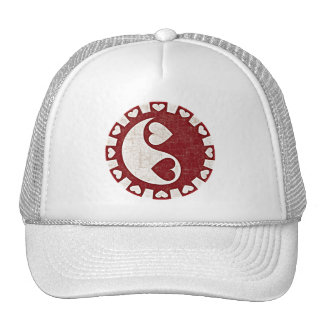 YIN YANG HEARTS RED TRUCKER HAT