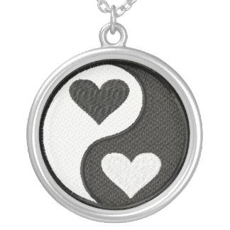 Yin Yang hearts Round Pendant Necklace