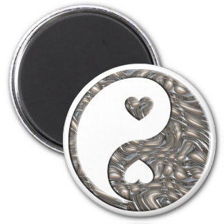 Yin & Yang / Hearts SILVER 2 Inch Round Magnet