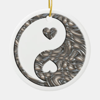 Yin & Yang / Hearts SILVER Ceramic Ornament