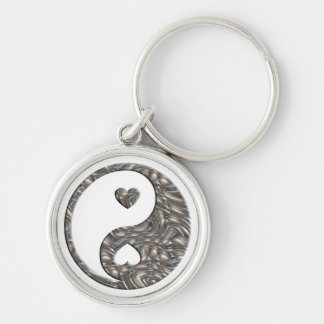 Yin & Yang / Hearts SILVER Silver-Colored Round Keychain