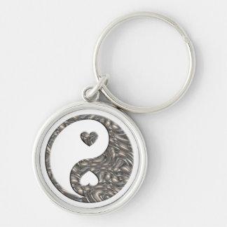 Yin & Yang / Hearts SILVER Keychain