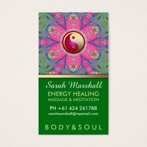 Yin Yang Hippie Pink Green Yoga Business Card