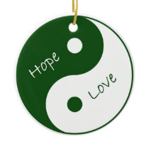 Yin Yang Hope Love Mental Health Awareness Ceramic Ornament