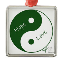 Yin Yang Hope Love Mental Health Awareness Metal Ornament