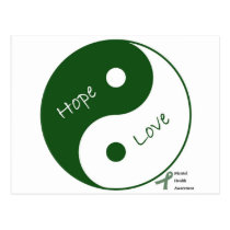 Yin Yang Hope Love Mental Health Awareness Postcard