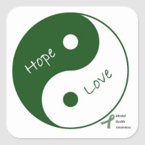 Yin Yang Hope Love Mental Health Awareness Square Sticker