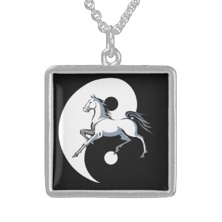 Yin Yang Horse Square Pendant Necklace