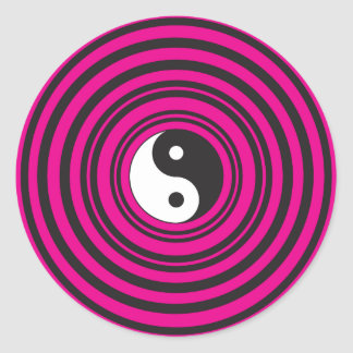 Yin Yang Hot Pink Black Concentric Circles Classic Round Sticker