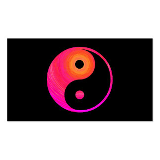 Yin Yang Hot Pink, Purple, and Orange Illustration Double-Sided Standard Business Cards (Pack Of 100)
