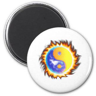 Yin Yang II fire and flames Fridge Magnets