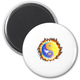 Yin Yang II fire and flames Magnet