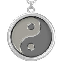 Yin Yang in 2 Shades of Gray Silver Plated Necklace