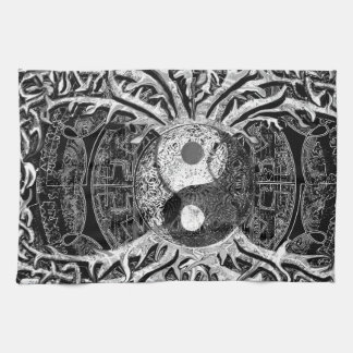 Yin Yang in Black and White w/ Tree of Life Hand Towels