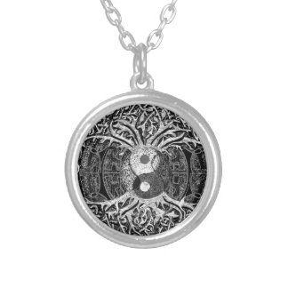 Yin Yang in Black and White w/ Tree of Life Silver Plated Necklace