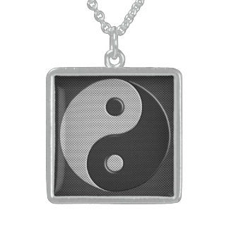 Yin Yang in Carbon Fiber Print Style Sterling Silver Necklace