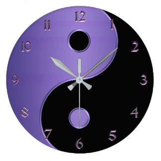 Yin Yang in Lavender Purple and Black Large Clock