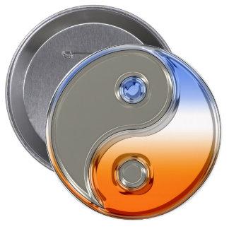 Yin Yang in Silver and Sunrise Button