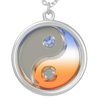 Yin Yang in Silver and Sunrise Silver Plated Necklace