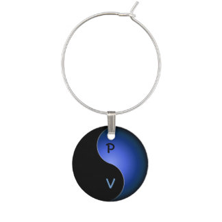yin yang initials - blue wine glass charms