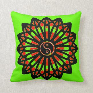 Yin Yang Inspiration Wisdom - Green, Red, Black Throw Pillow