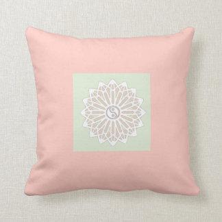 Yin Yang Inspiration Wisdom- Pale Pink & Green Throw Pillow