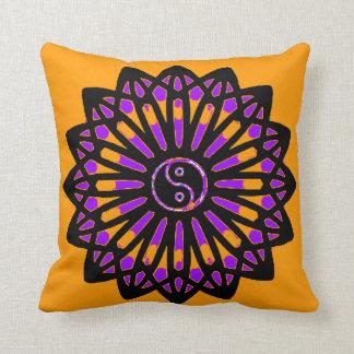 Yin Yang Inspiration Wisdom, Purple, Black, Orange Throw Pillows