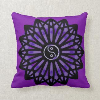 Yin Yang Inspiration Wisdom - Purple, Black Pillow