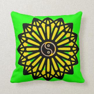 Yin Yang Inspiration Wisdom - Yellow, Green, Black Throw Pillows