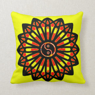 Yin Yang Inspiration Wisdom - Yellow, Red, Black Throw Pillows