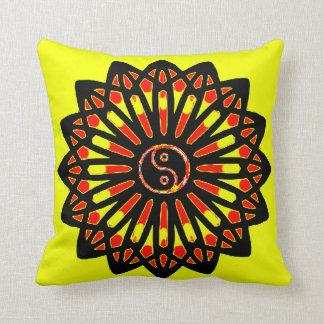 Yin Yang Inspiration Wisdom - Yellow, Red, Black Throw Pillow